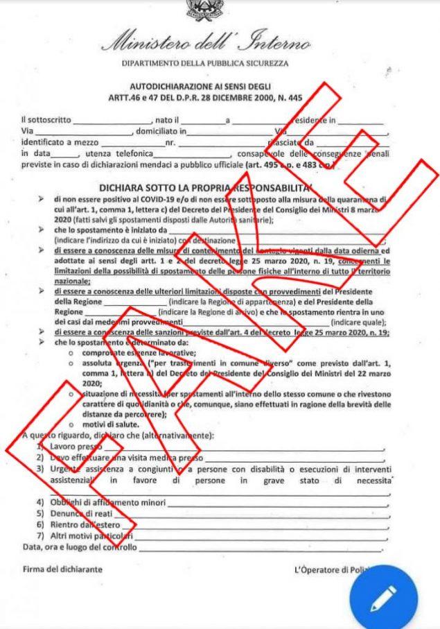 1000 euro al mese famiglia nuovo modulo autocertificazione whatsapp bufala coronavirus