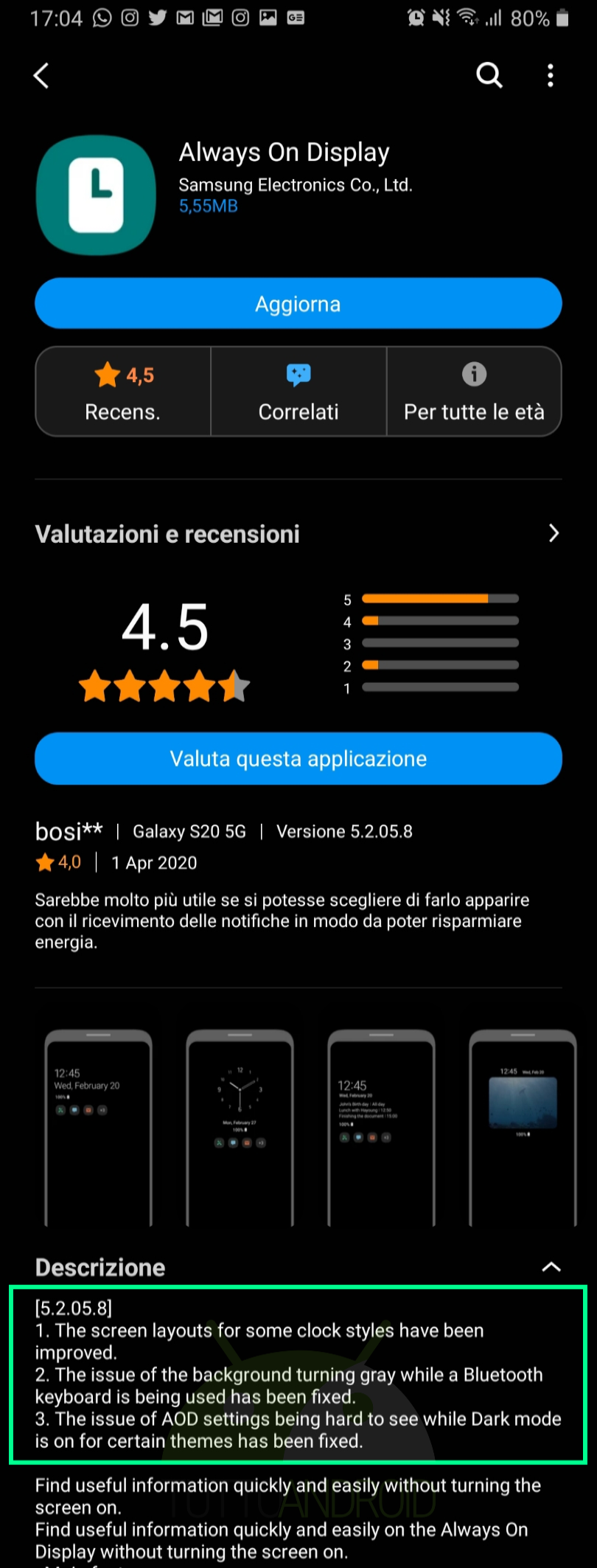 aggiornamento Always On Display 5.2.05.8 Samsung Galaxy