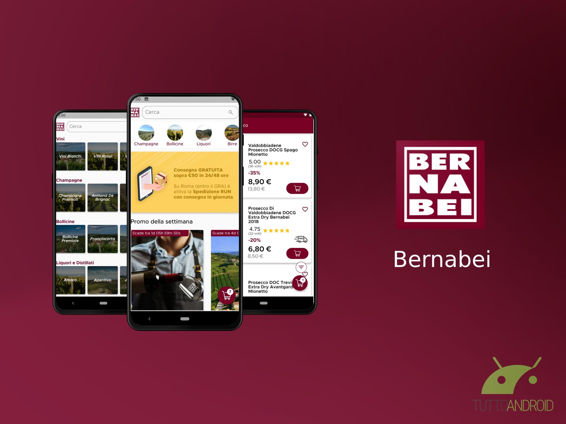 L'app Bernabei permette di acquistare online vini, liquori,