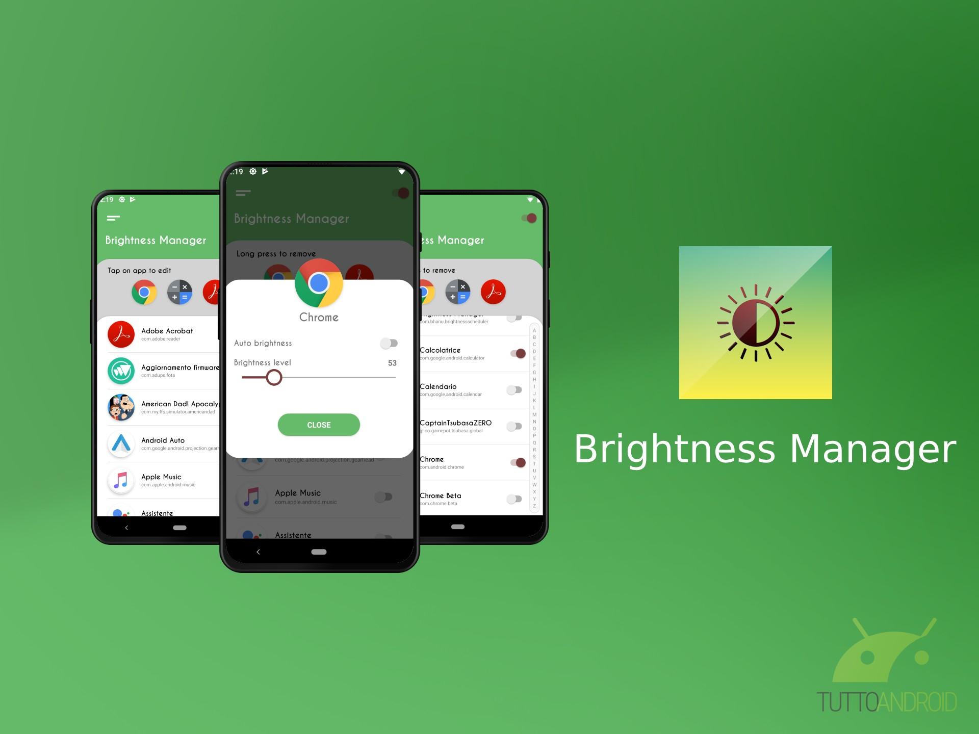 Brightness Manager imposta un livello di luminosità per ogni