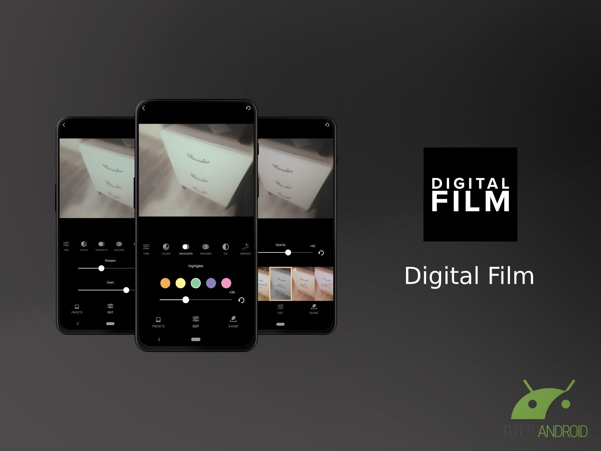 Digital Film è un'app di fotoritocco creata da fotografi ada