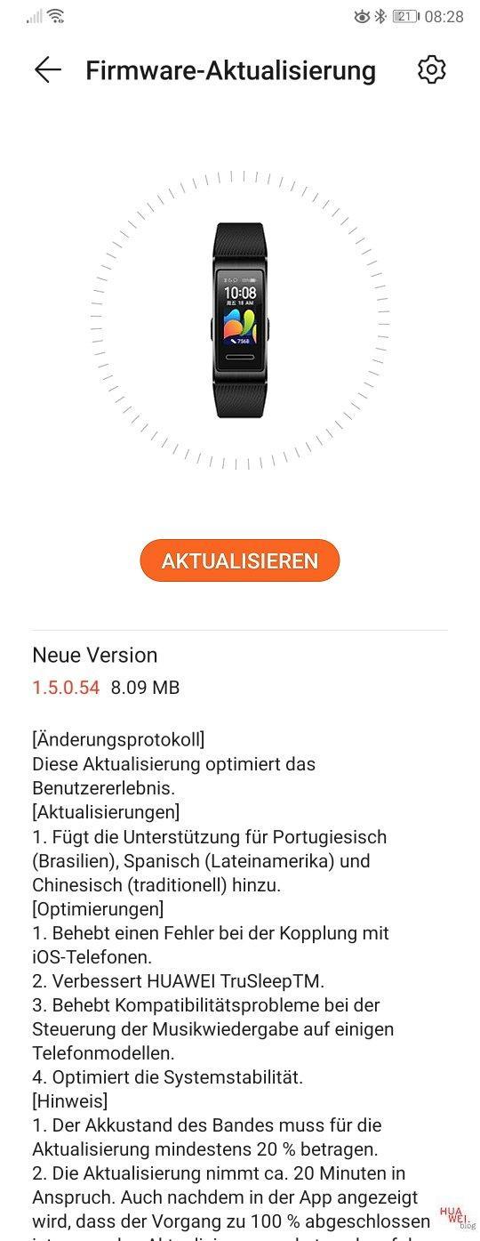 Huawei Band 4 aggiornamento 1.5.0.54