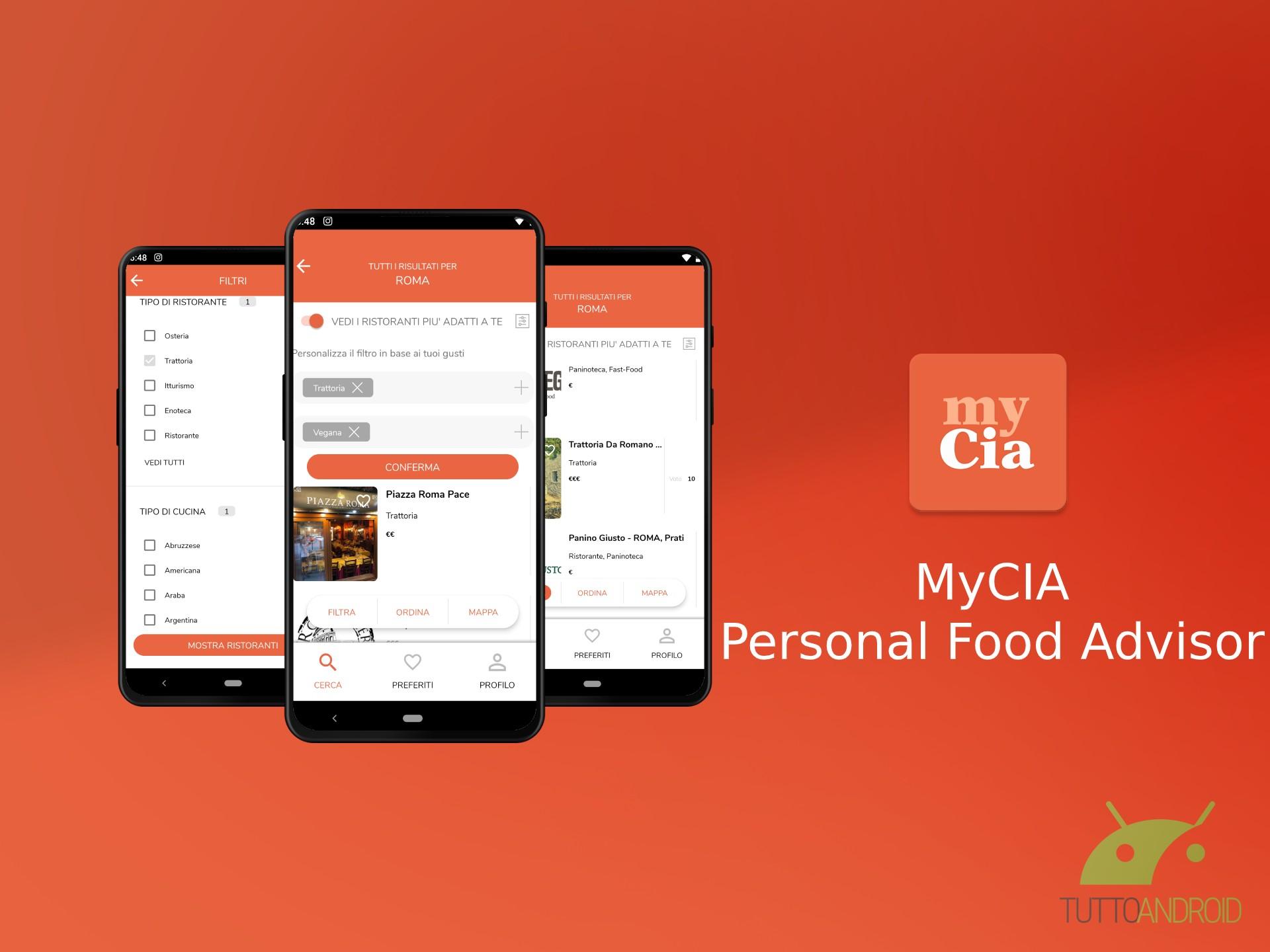 MyCIA consiglia i ristoranti in base alla Carta d'Identità A