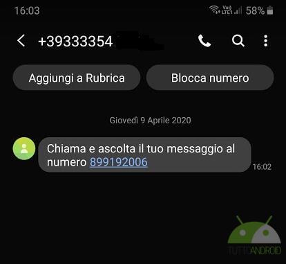 segreteria sms phishing