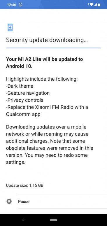 aggiornamento Android 10 Xiaomi Mi A2 Lite