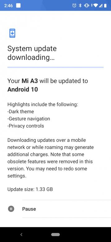 aggiornamento Android 10 Xiaomi Mi A3