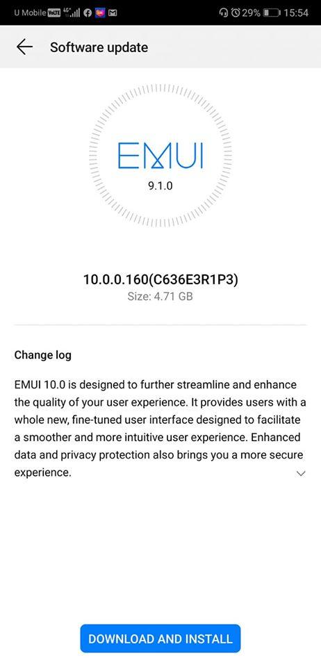 huawei p20 android 10 emui 10