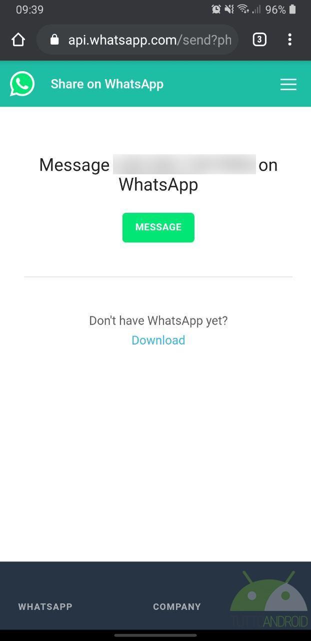inviare messaggi whatsapp a contatti non registrari