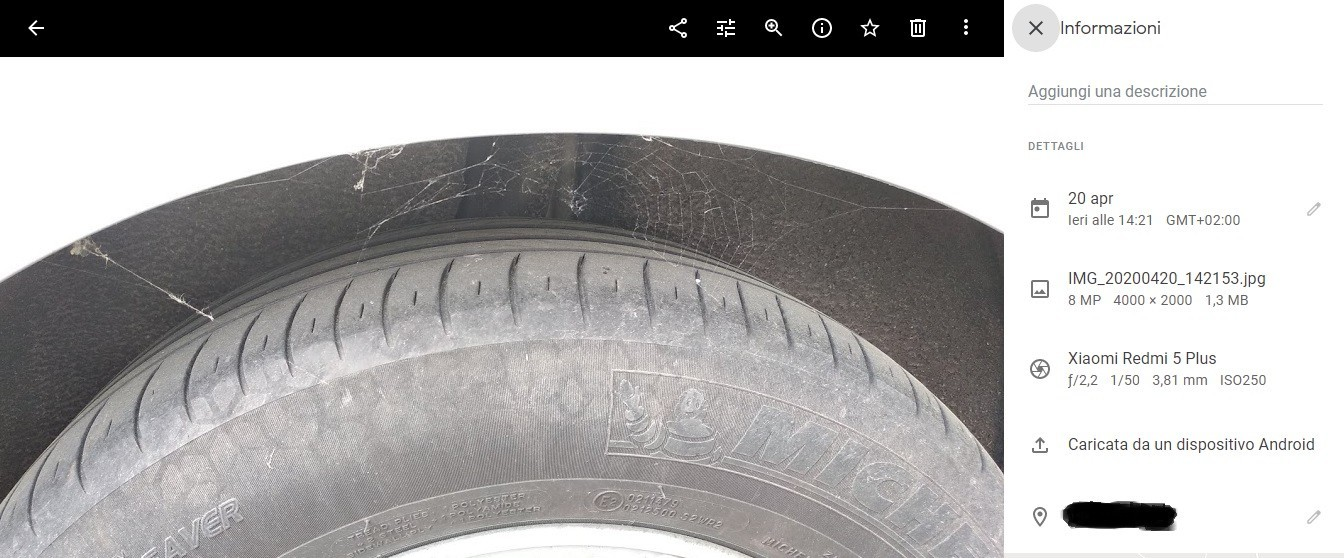 origine upload Google Foto