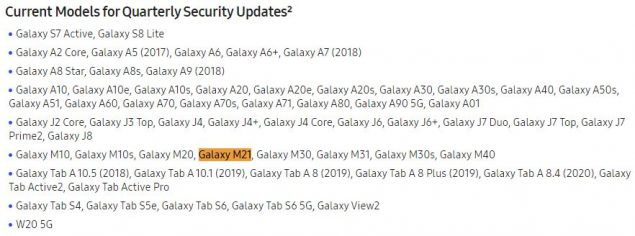 samsung galaxy m21 aggiornamenti android patch di sicurezza supporto
