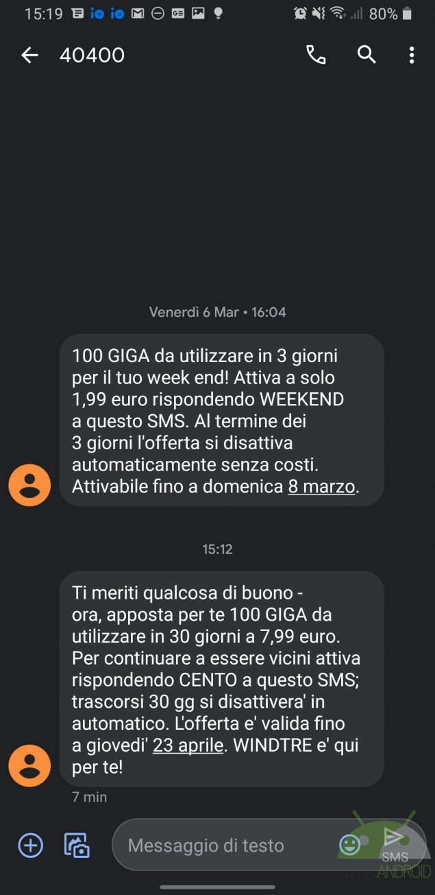 windtre 100 giga 7,99 euro offerta 20 aprile