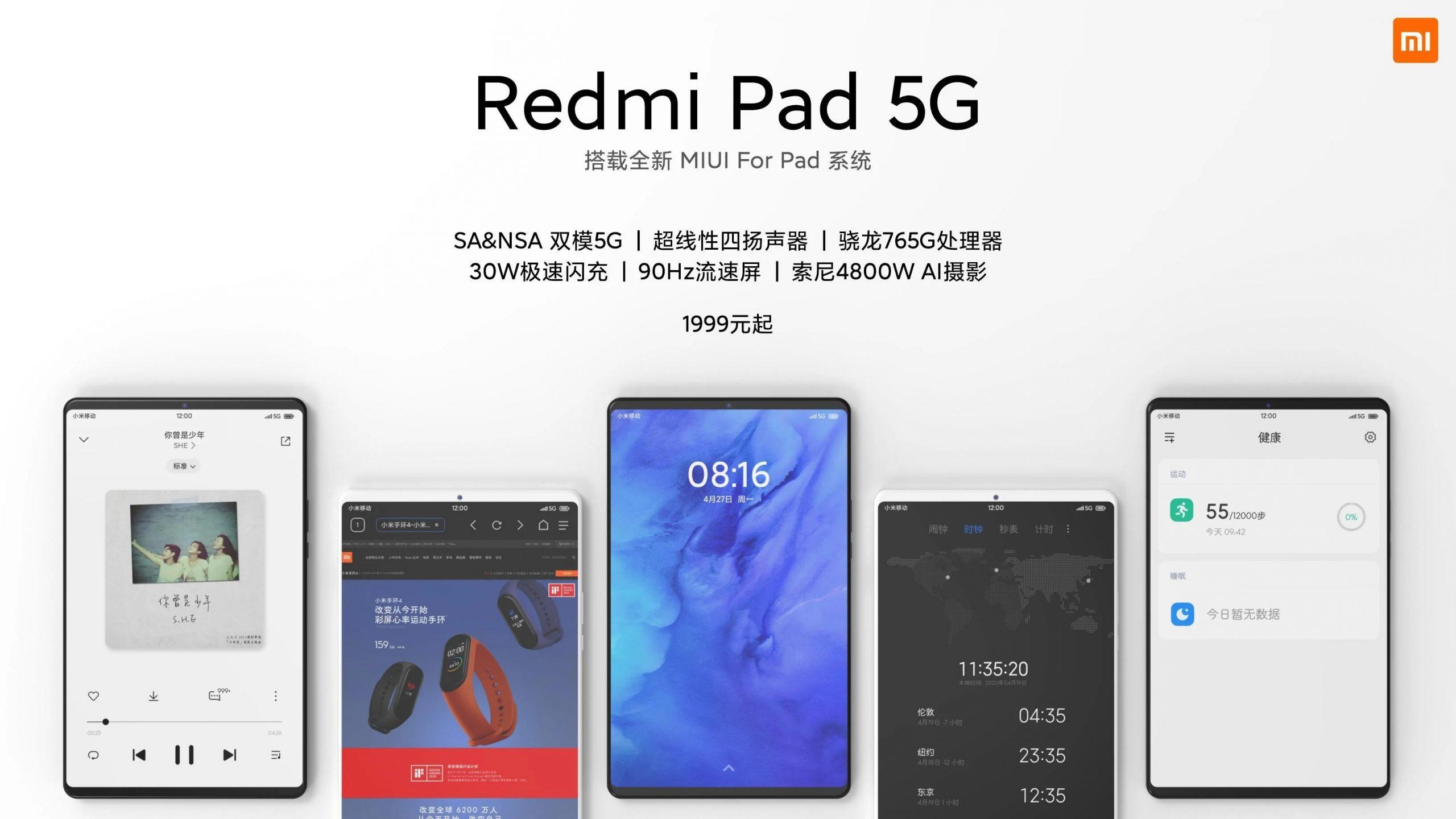 Ecco presunti prezzo e caratteristiche del tablet Redmi Pad 5G