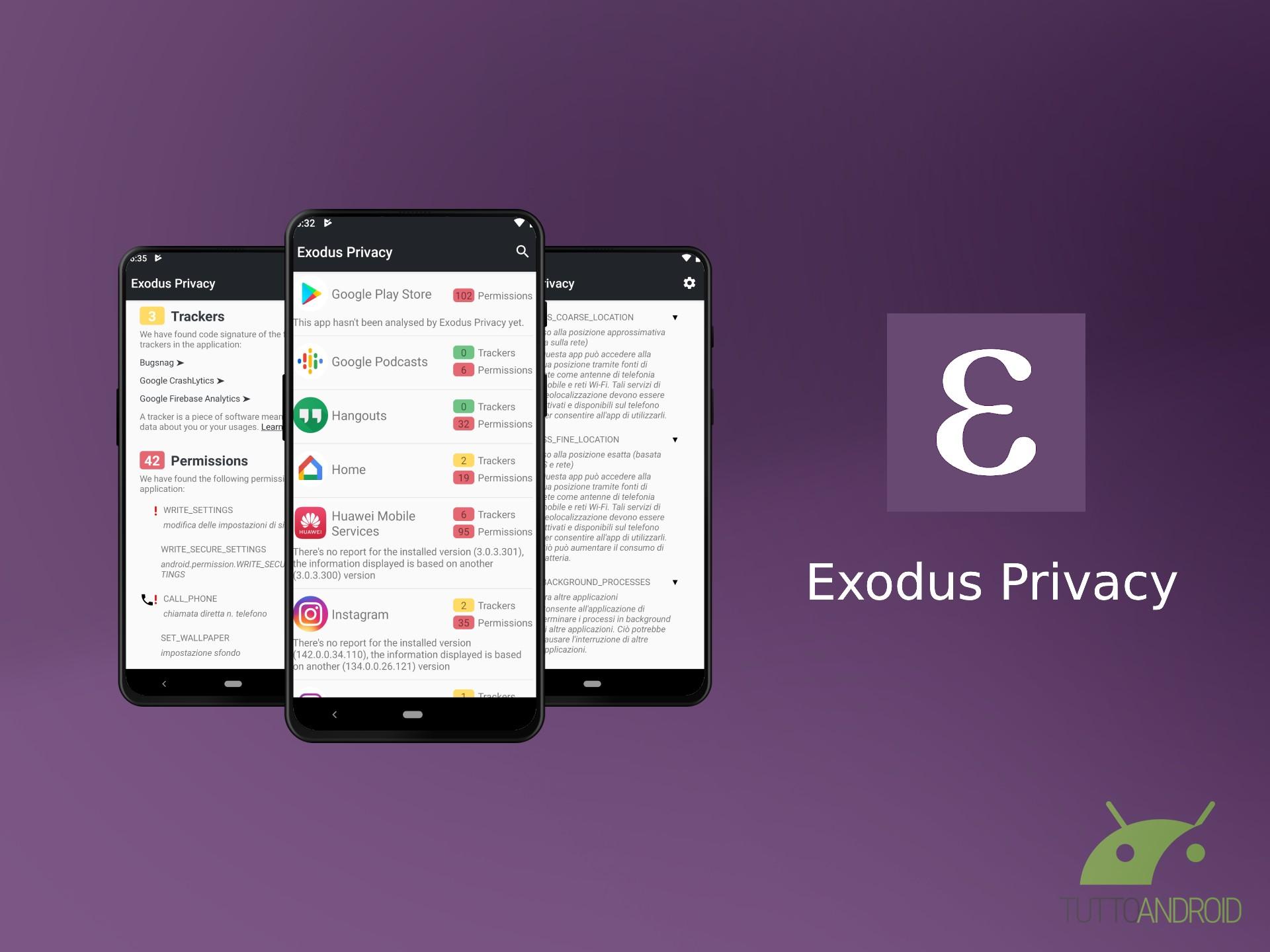 Exodus Privacy mostra tutti i tracker e le autorizzazioni de