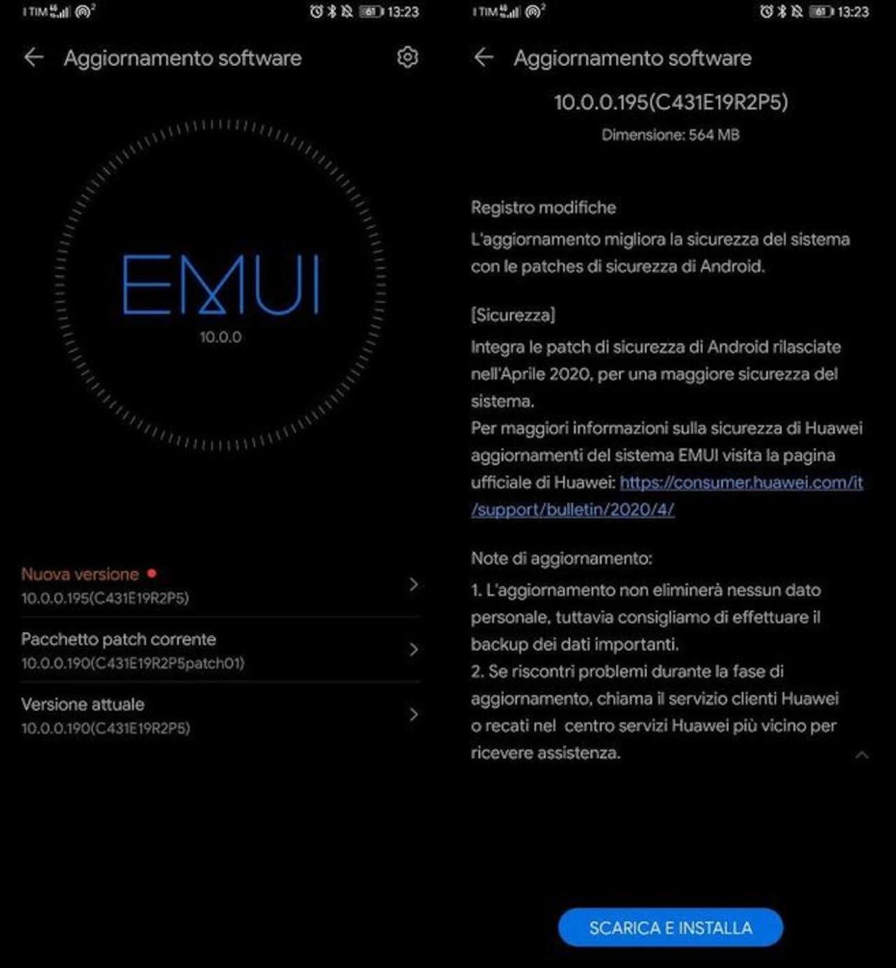 Huawei p30 pro aggiornamento