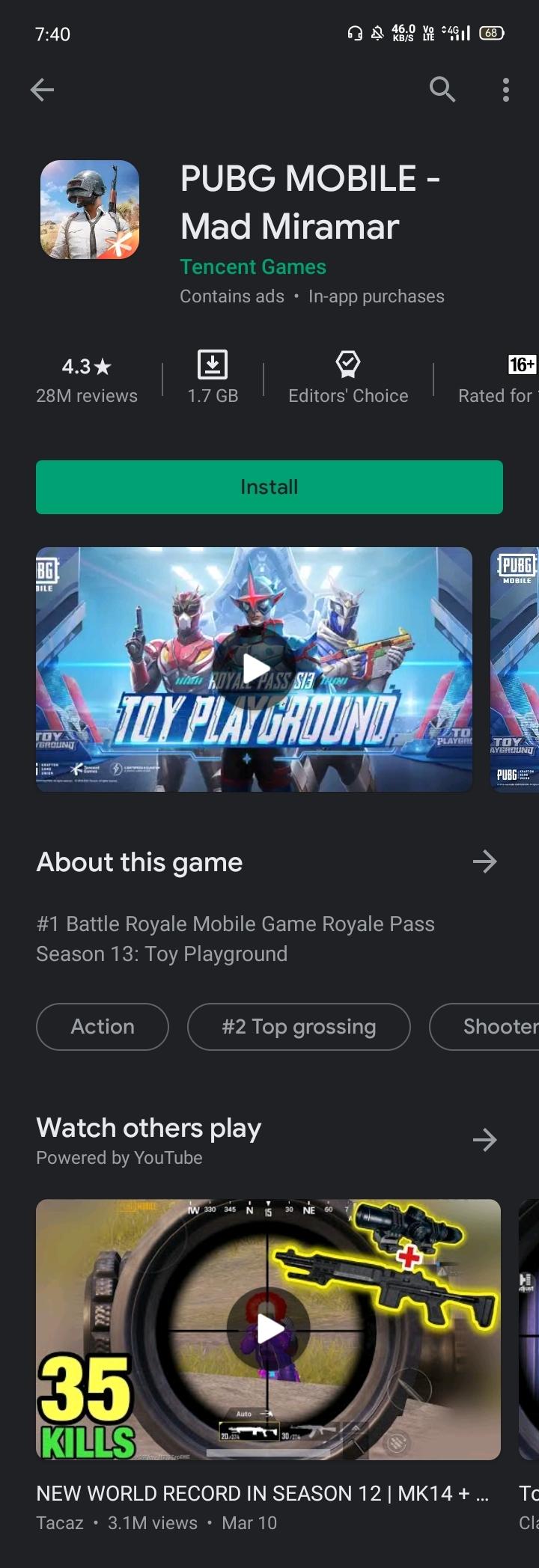 Play Store PUBG