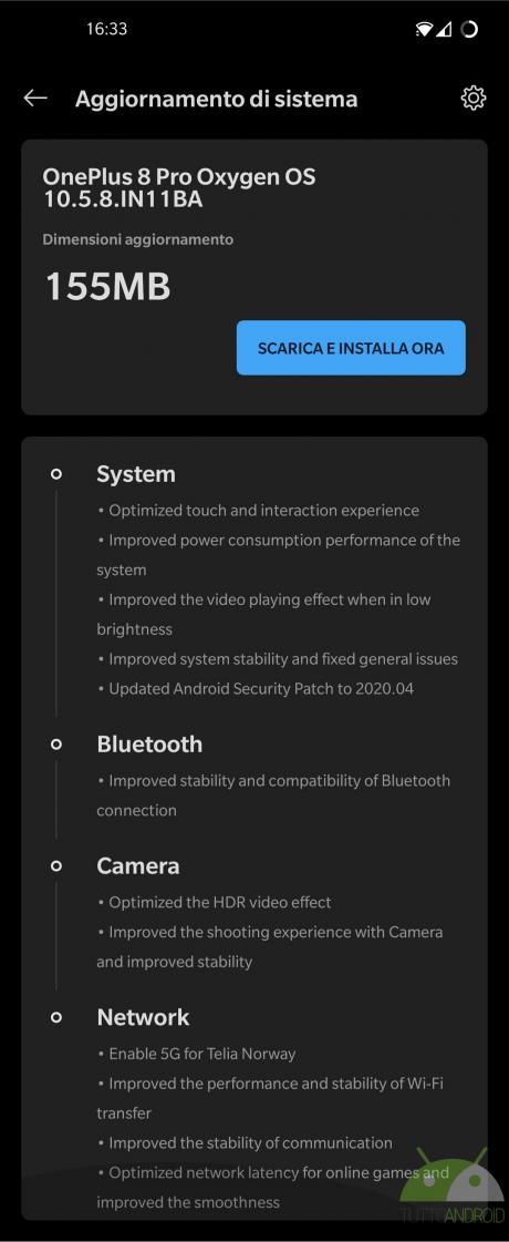 aggiornamento OnePlus 8 e 8 Pro