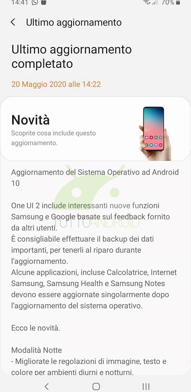 aggiornamento Android 10 Samsung Galaxy A10