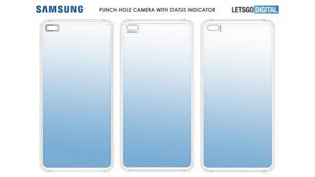 samsung smartphone fotocamera punch hole status bar brevetto