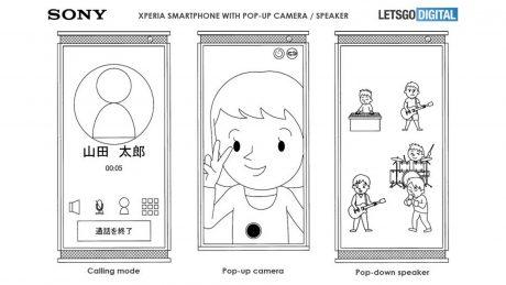 sony smartphone fotocamera speaker pop-up brevetto