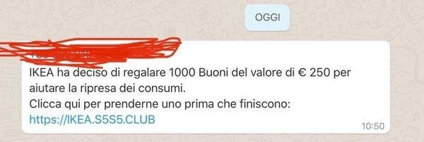 whatsapp buono ikea 250 euro bufala