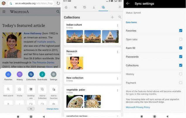 youtube ricerca web in-app microsoft edge beta 45.05 collezioni novità
