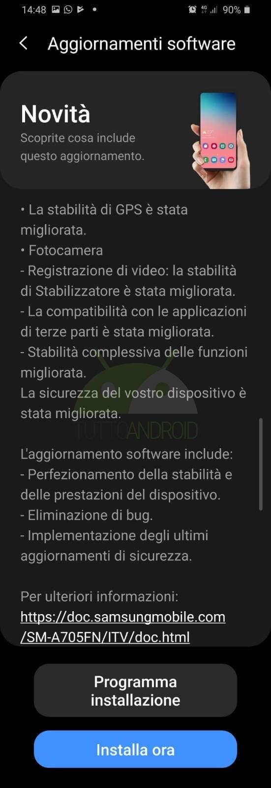 aggiornamento Samsung Galaxy A70 giugno 2020