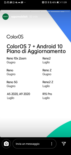 oppo coloros 7 android 10 roadmap italia