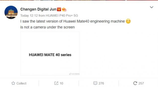 huawei mate 40 fotocamera sotto il display