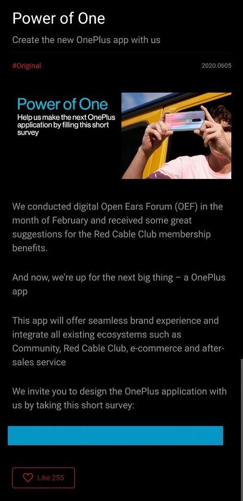 oneplus app sviluppo novità