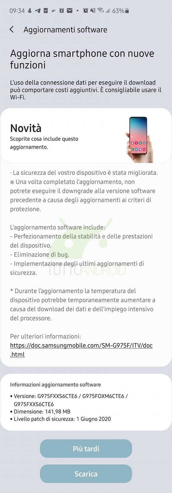 Samsung Galaxy S10 aggiornamento patch di sicurezza giugno 2020