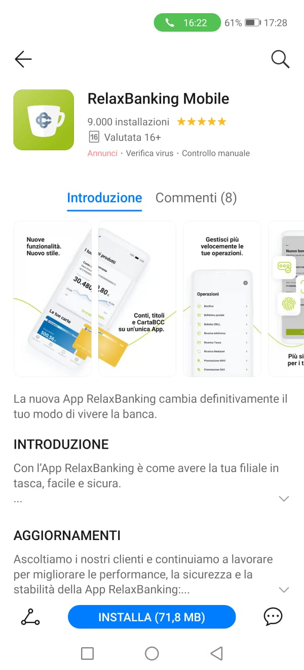 relaxbanking mobile appgallery disponibile