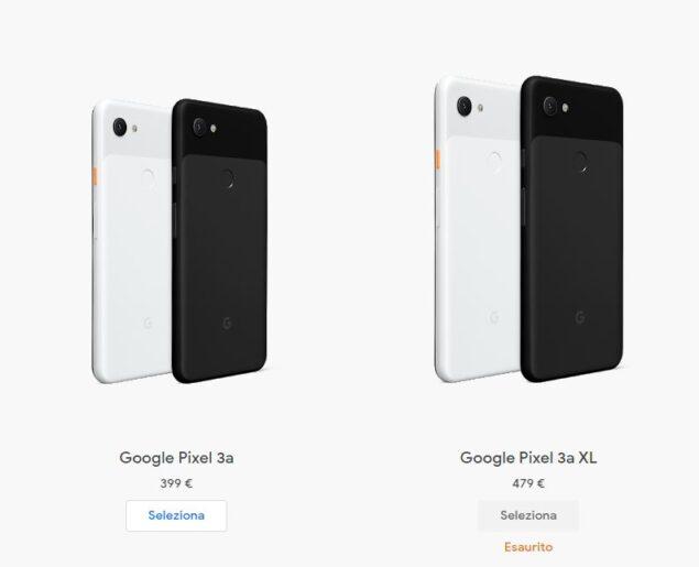 google pixel 3a xl esaurimento scorte
