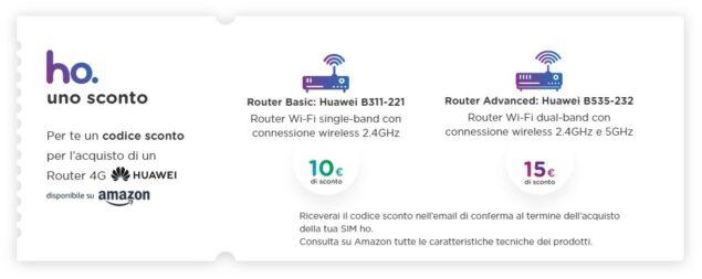 ho. mobile uno sconto router 4g huawei amazon