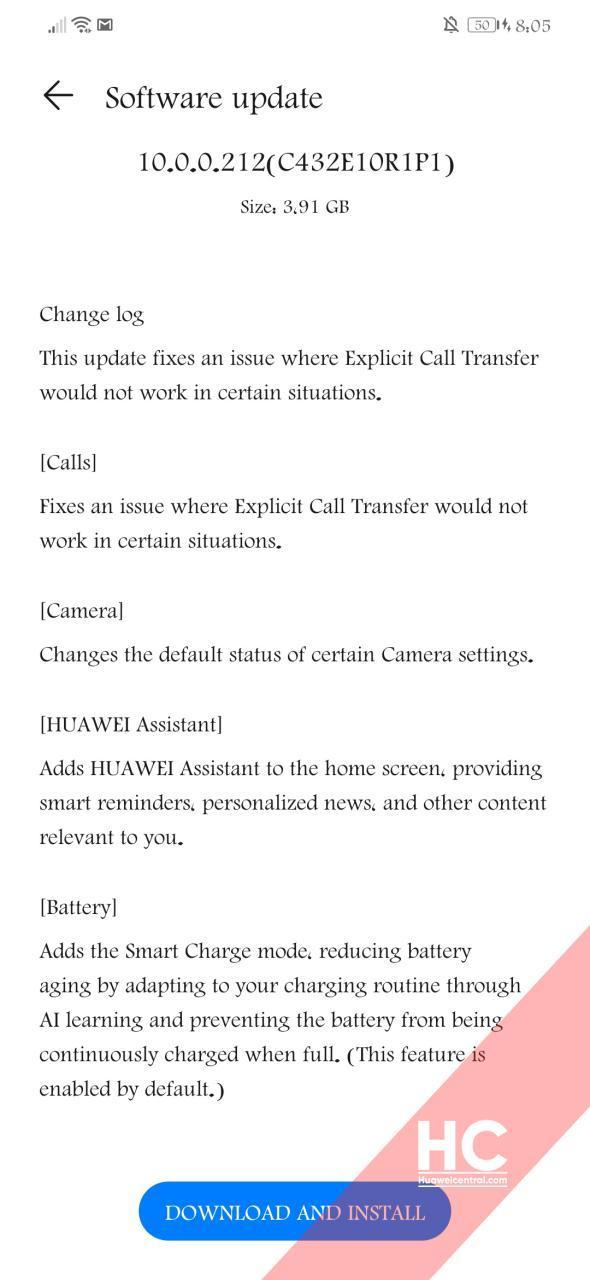 changelog aggiornamento Huawei Mate 20 Lite
