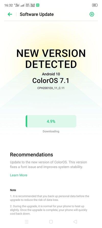 aggiornamento OPPO F15 Android 10 Color OS 7