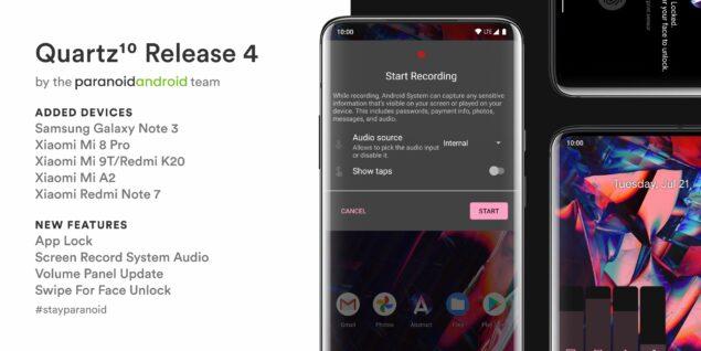 paranoid android quartz 4 aggiornamento