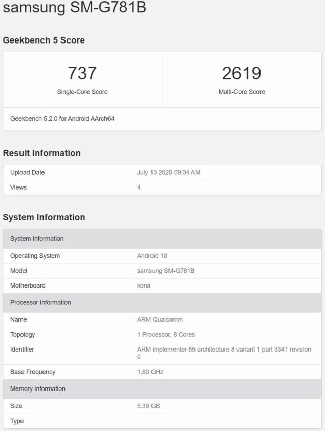 samsung galaxy s20 fan edition note 20 ultra benchmark processore fotocamera