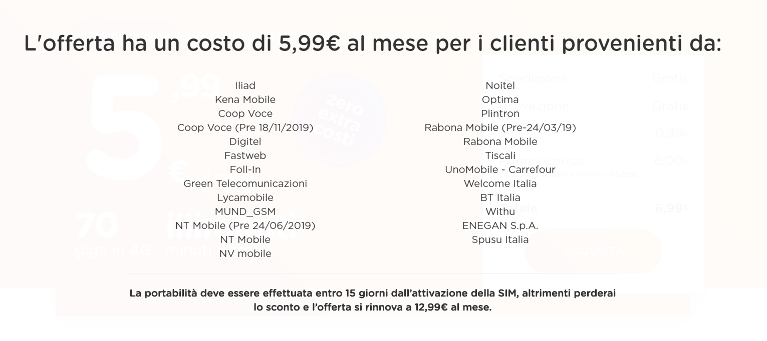 ho mobile offerta 5,99 target