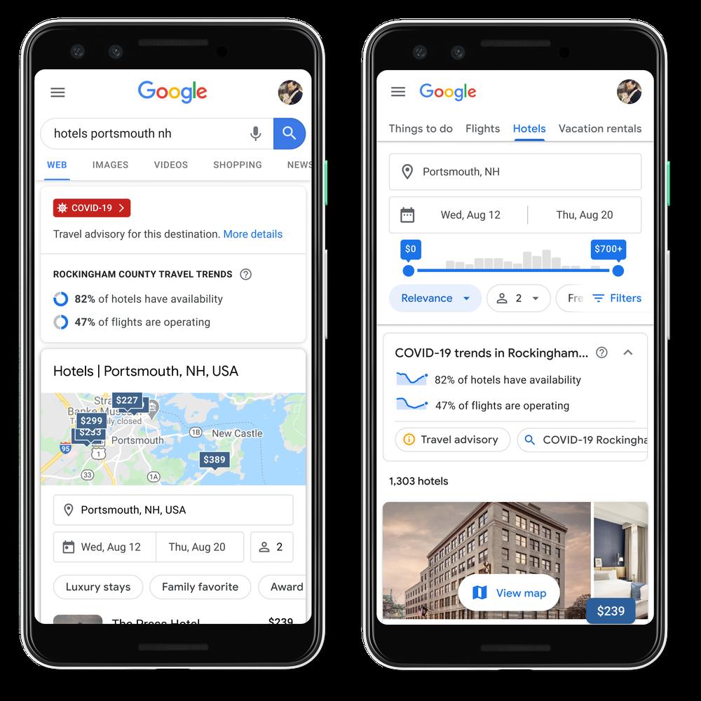 funzioni per hotel e viaggi app Google con COVID-19