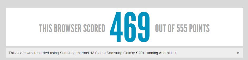 Samsung Galaxy S20+ con Android 11 su HTML5test