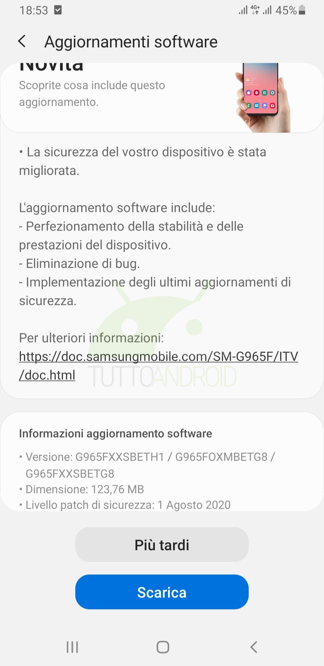 aggiornamento Samsung Galaxy S9+ patch agosto 2020