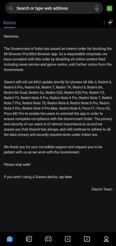 xiaomi mi browser rimozione update india
