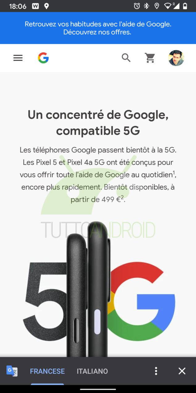 google pixel 5 store francese
