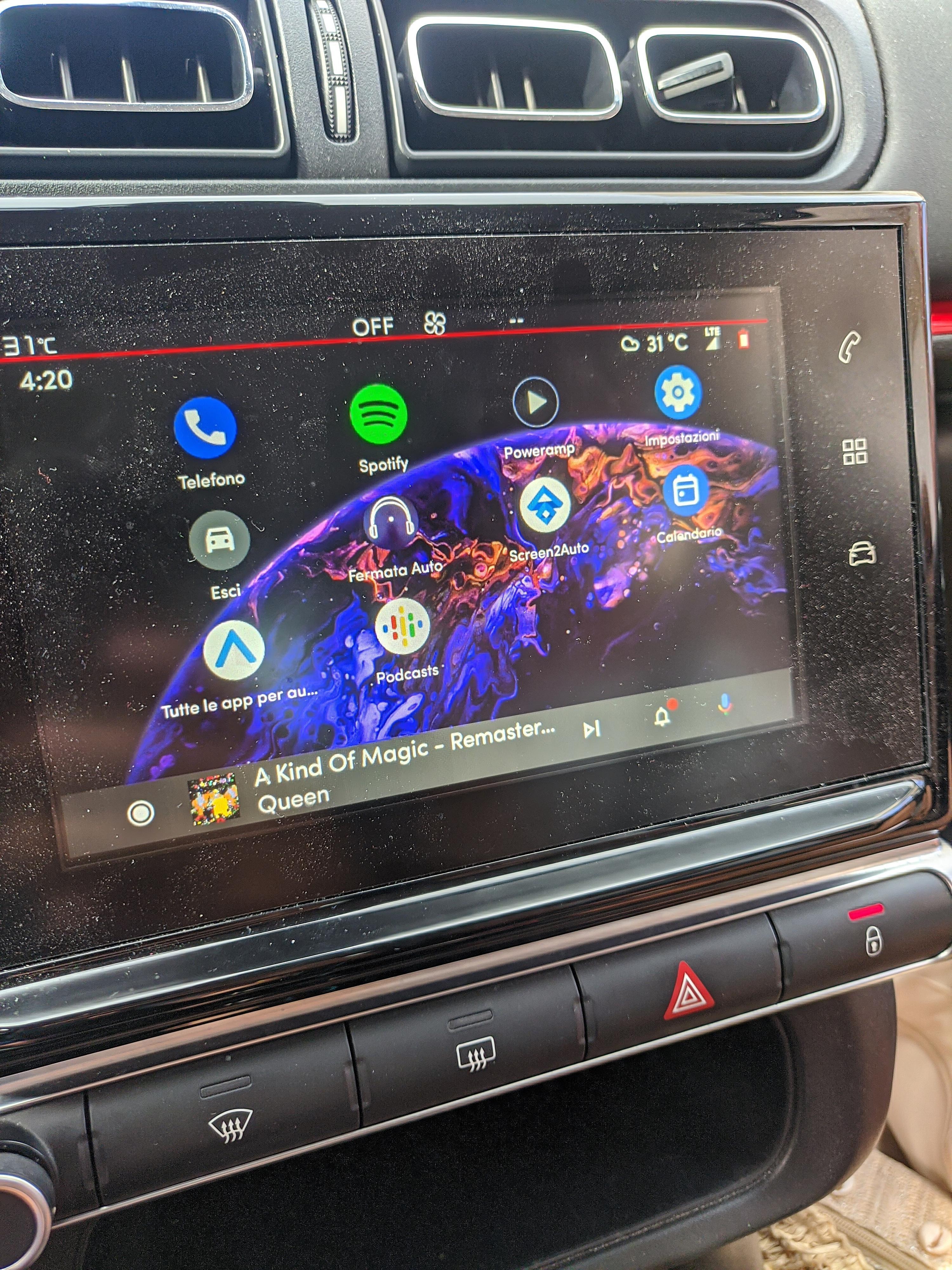 Android Auto informazioni brani