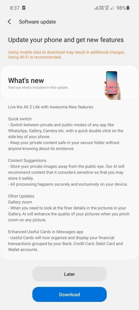 samsung galaxy a51 aggiornamento agosto