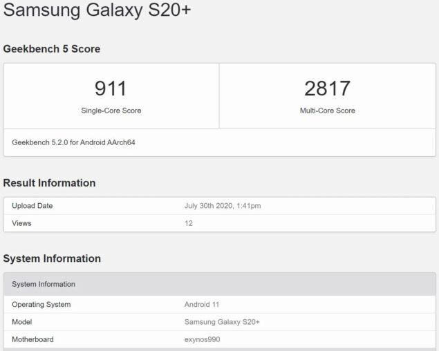 samsung galaxy s20 plus android 11 benchmark