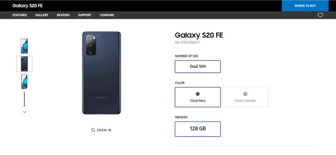 Samsung Galaxy S20 Fan Edition sul sito ufficiale