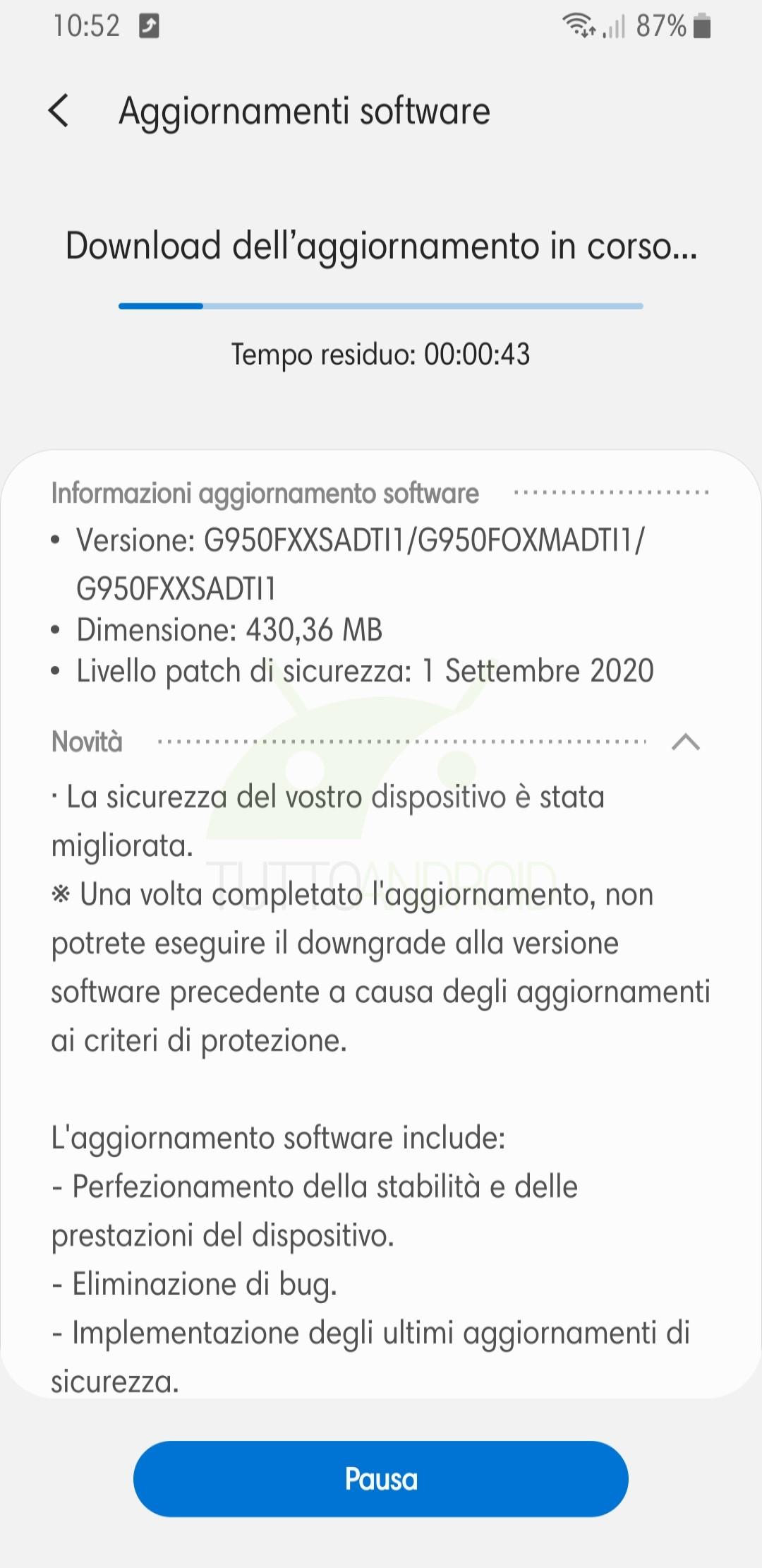 Samsung Galaxy S8 aggiornamento patch di settembre 2020