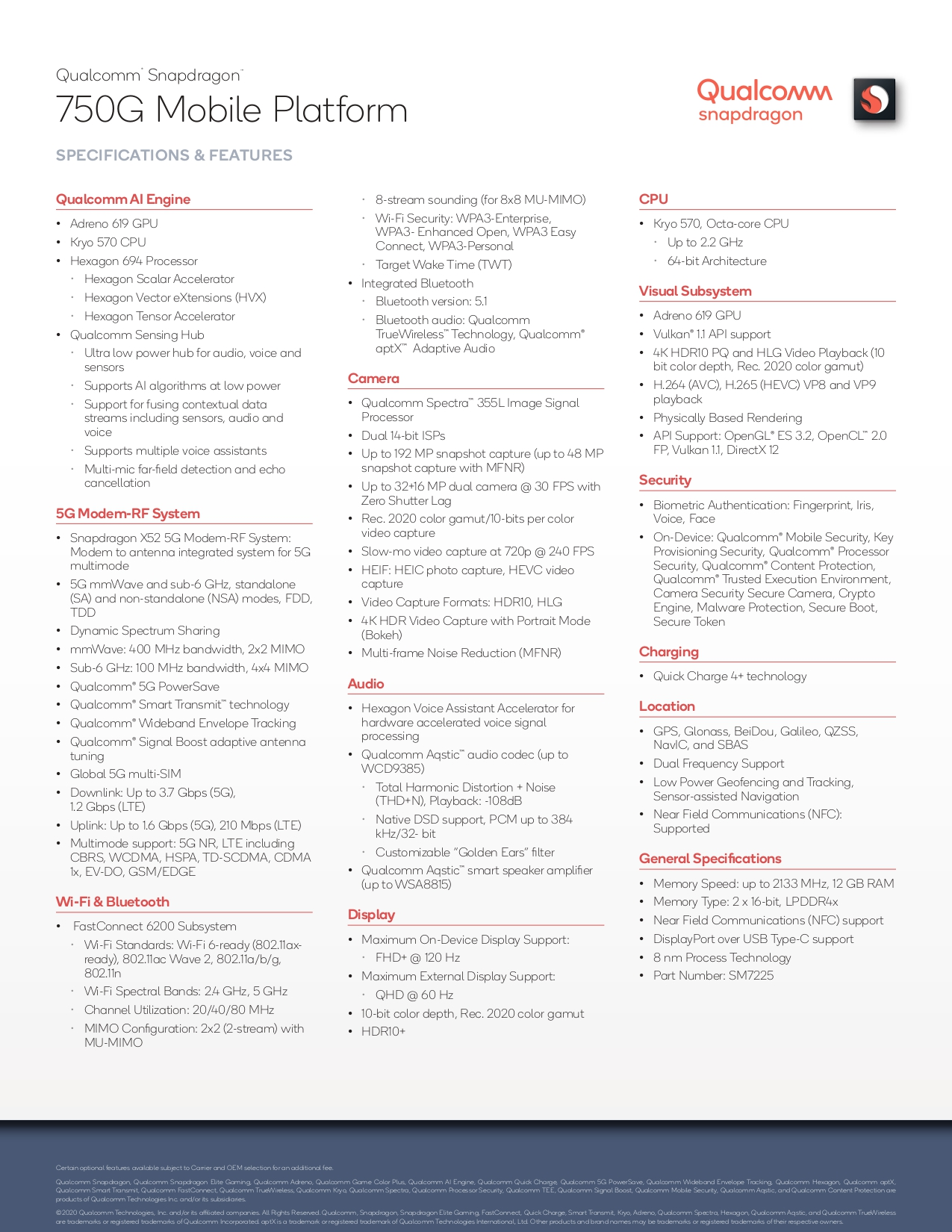 caratteristiche Qualcomm Snapdragon 750G 5G