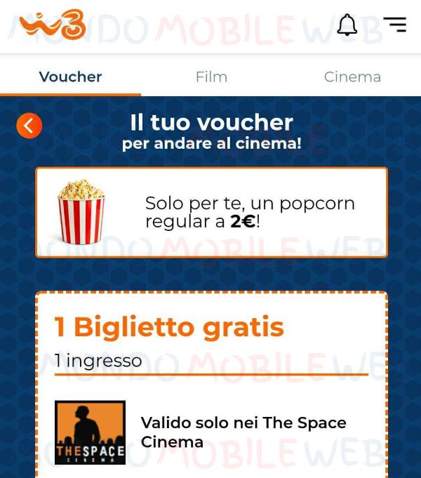 windtre winday cinema popcorn